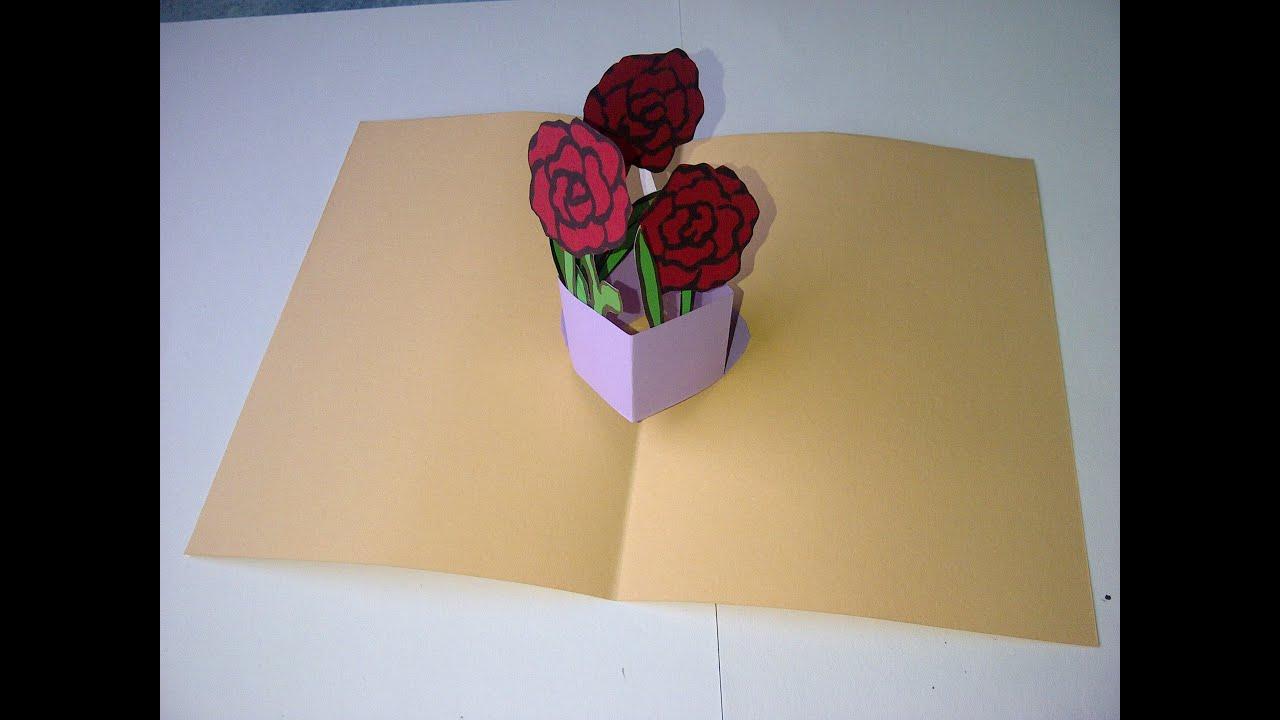 Valentinstag muttertag oder geburtstag 3d pop up gru karte mit blumenstrau basteln youtube - Geburtstagskarte basteln pop up ...