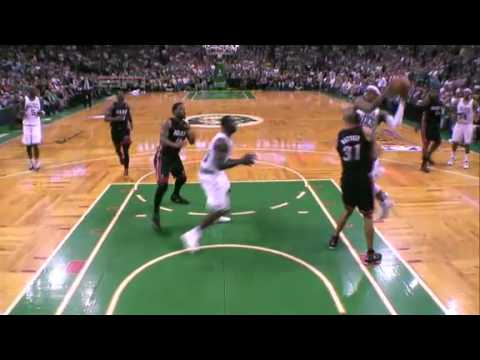 Rajon Rondo gets hit with a technical foul for kicking Shane Battier after Shane kicked him