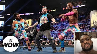big e reacts to kevin owens becoming an honorary new day member wwe now