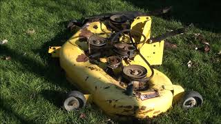 HOW TO REPLACE Loud Noisy DECK BEARINGS on a JOHN DEERE LA145. Riding Lawnmower problem FIXED!