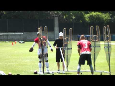 Panthers QB #3 Derek Anderson doing passing drills