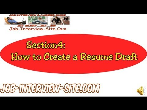 Resume Draft: How To Create A Resume Draft