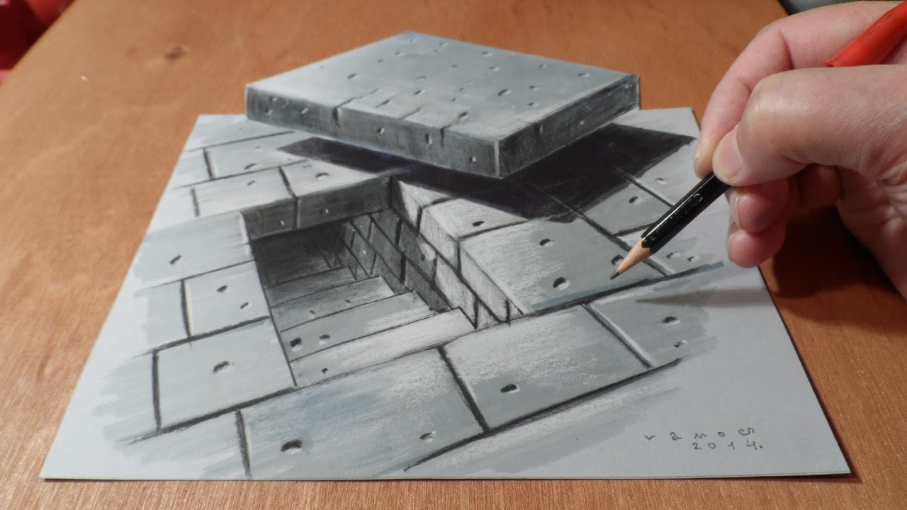 Art 3D Drawing Tunnel Stairs, How to Draw Stairs, Artistic Graphic ...