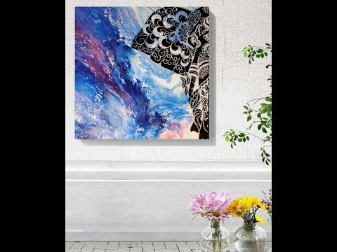 ACRYLIC ABSTRACT PAINTING - DUTCH POUR, Resin, and a Vinyl. Making of Enchanted Elephant