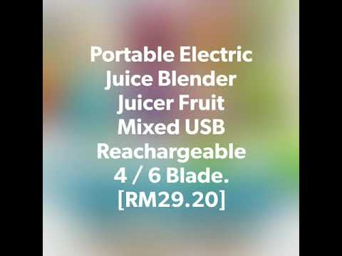 Portable Electric Juice Blender Juicer Fruit Mixed USB Reachargeable  4 / 6 Blade.