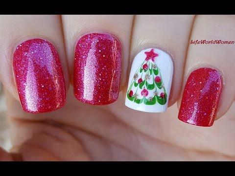 DRAG MARBLE CHRISTMAS TREE NAILS / Holo HOLIDAY NAIL ART