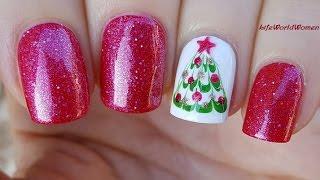 Gambar cover DRAG MARBLE CHRISTMAS TREE NAILS / Holo HOLIDAY NAIL ART