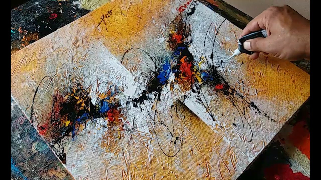 Abstract painting textured with gesso Acrylic abstract painting
