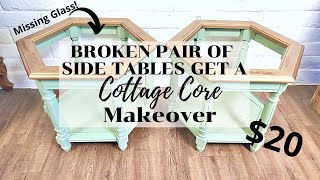 $20 Set of Side Tables With Missing Glass Tops Get a Cottage Core Makeover