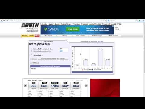 How To Use ADVFN Free Stock Screening Tool