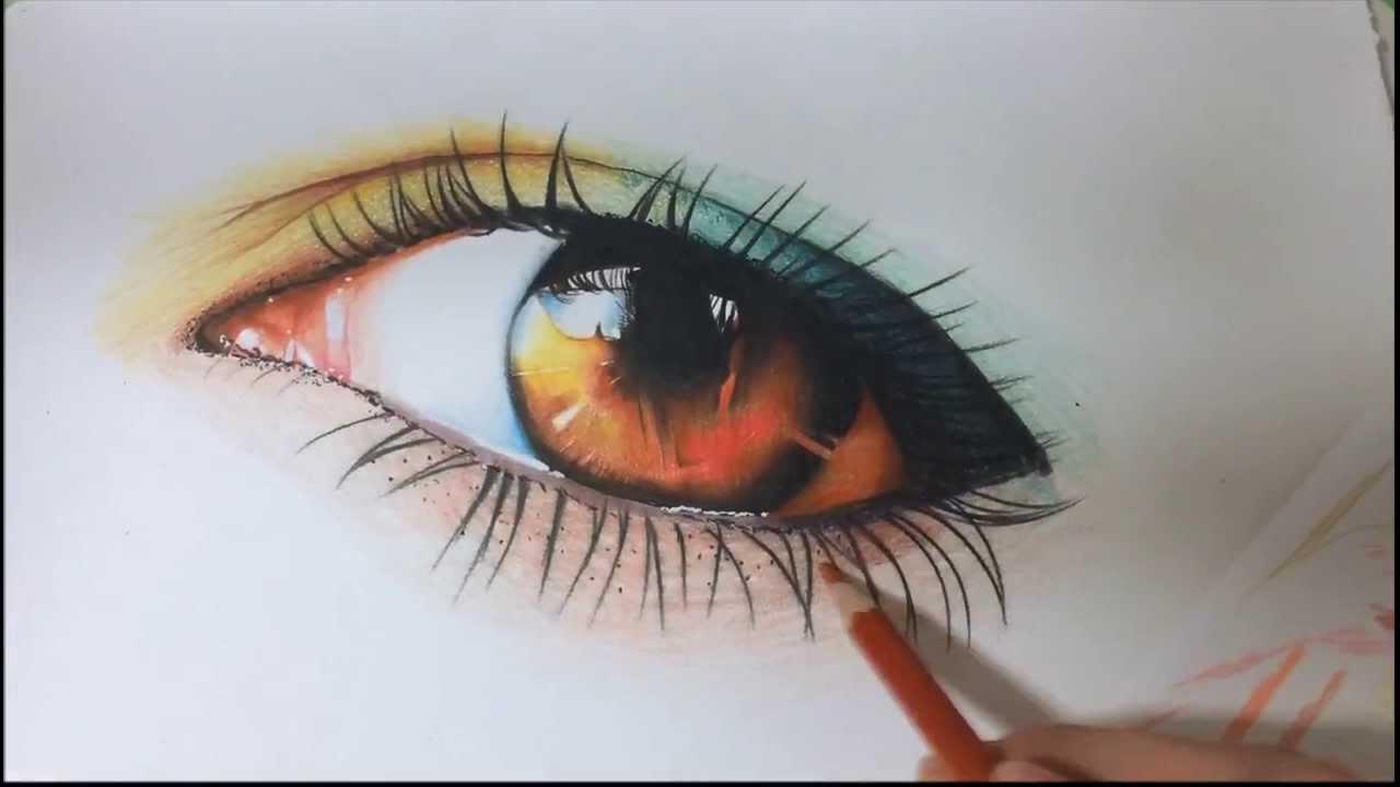 Desenho Realista Com Lapis De Cor Olho Maquiado Youtube