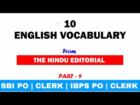 Important Vocabulary from The Hindu Editorial for SBI PO | CLERK | IBPS PO | CLERK | SSC Part 9