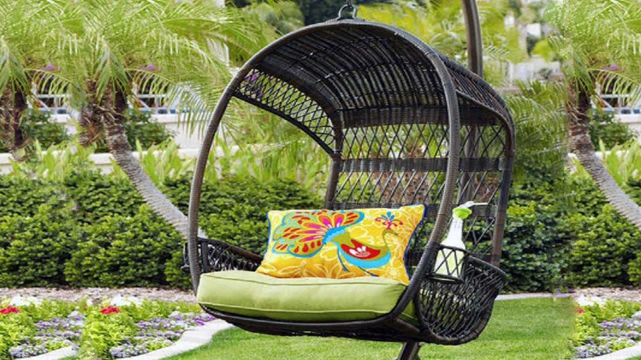 Outdoor Hanging Chair With Stand - YouTube