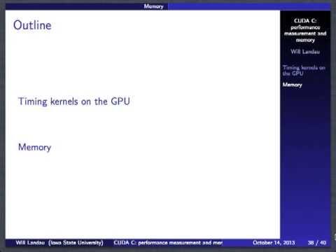 CUDA C: performance measurement and types of memory