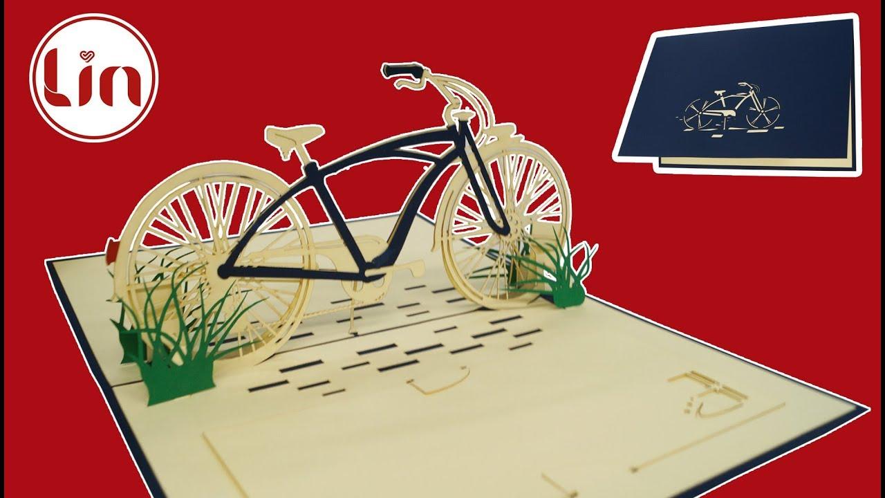Pop Up 3d Karte Zum Geburtstag 3d Klappkarte Fahrrad