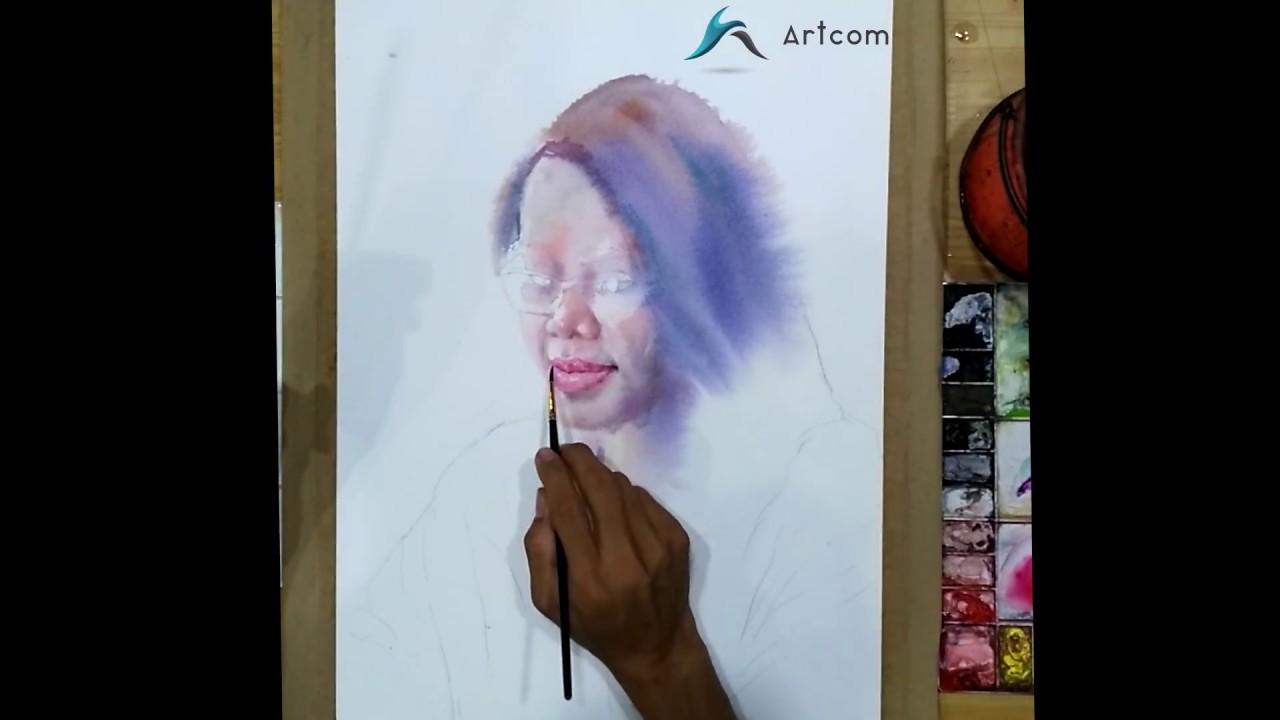 Vẽ tranh màu nước – Vẽ chân dung bạn gái xinh đẹp – Art Com