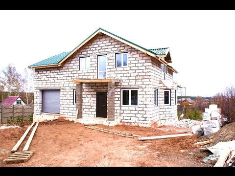 Дом из газобетона от фундамента до крыши за 1 минуту