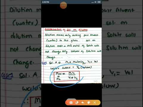 CONCENTRATION OF A SOLUTION ON DILUTION/ BASIC CONCEPT OF CHEMISTRY/MOLE CONCEPT/PART 31