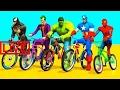 Spiderman Ride a Bike with Superheroes - Bicycles Bikes Race Cartoon for Kids Nursery Rhymes S #JAB