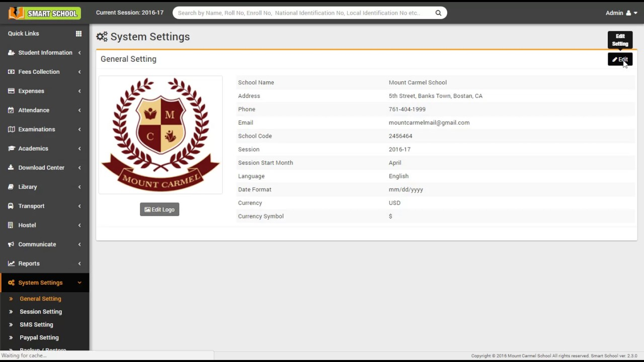 System Settings - Smart School