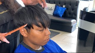Virgin relaxer , cut and style.
