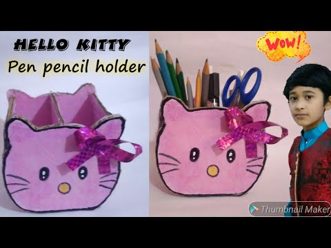 DIY- How to make pen pencil holder, Hello kitty pen holder, kids craft idea , pen holder || pj mind