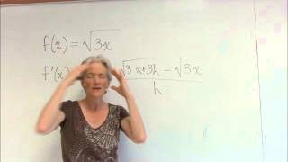 limit definition of derivative with square root function