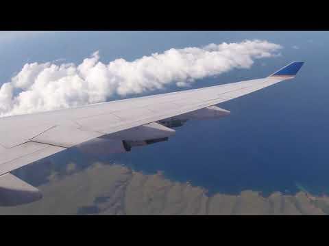 Flying over Maui, Kahoolawe, & Lanai Islands on Approach into HNL on UA747