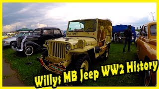 """Willys MB Jeep WW2 History 2018. Classic Cars Show in Kiev """"Old Car Land""""."""