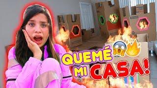 24 HORAS EN UNA CAJA DE CARTÓN!!! QUEMÉ MI CASA!!🔥😱 | Leyla Star 💫