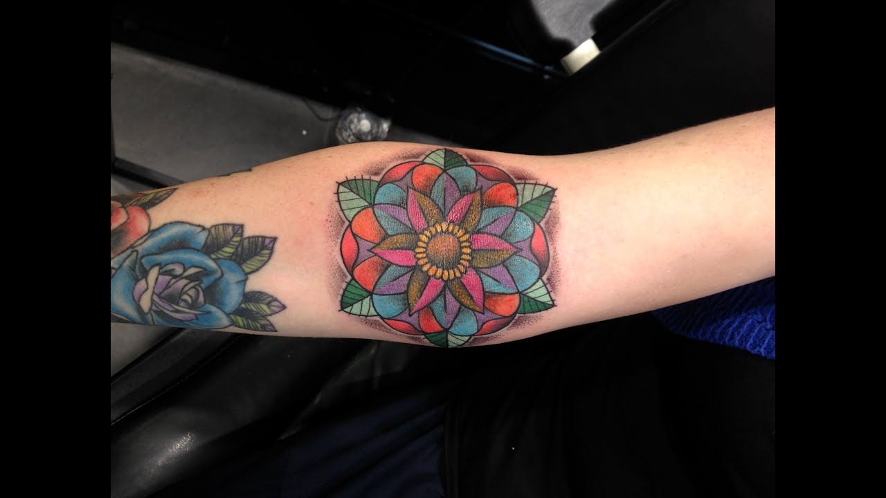 geometric flower tattoo color - photo #37