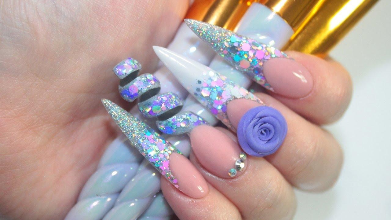 unicorn spiral acrylic nails
