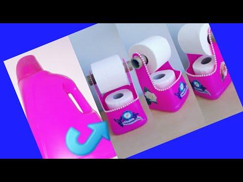 DIY : Deterjan Bidonundan Tuvalet Kağıtlığı-Toilet Paper Rack From Detergent Can- İnanılmaz Geri Dön