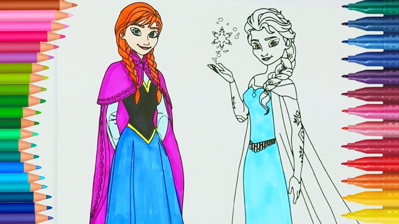 Frozen Princesses Anna And Elsa How To Draw And Color Coloring