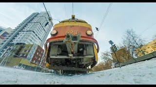 Under the TRAM winter VR 360 Под Трамваем панорамное видео.