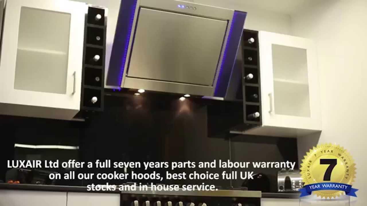 90cm Cooker Hood Angled LED  Black or Stainless Steel