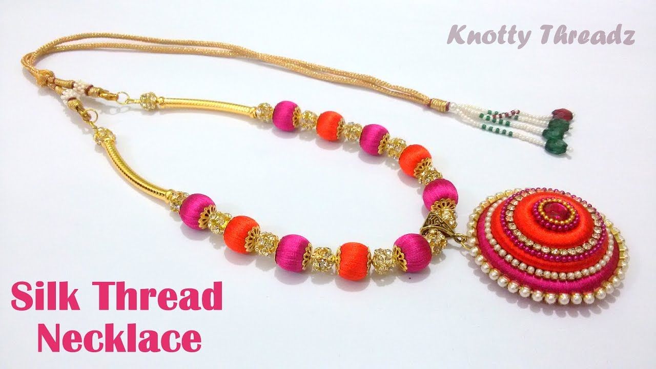 and round hooks beads tiny cord bead products silk necklace luxe gold