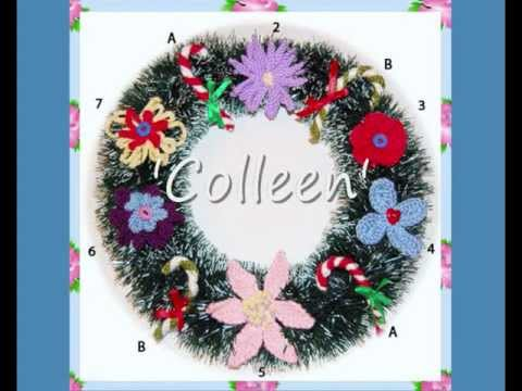 Colleen Set Of 7 Christmas Wreath Candy Stick And Flower Decorations