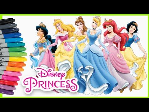 Mewarnai Princess Disney Compilation | Disney Princesses Coloring Page Compilations