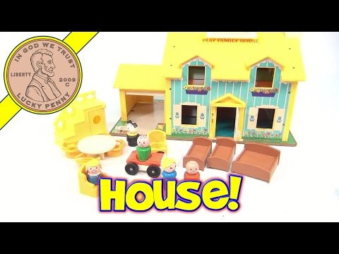 Fisher-Price Vintage Play Family House Playset #952 (Blue & Yellow Version) From 1969