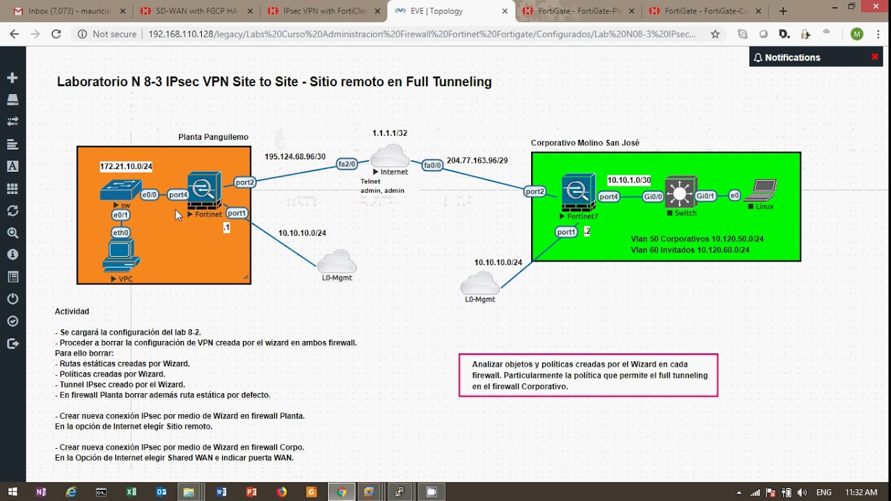 Preview Lab Fortinet Fortigate IPsec Site to Site with Branch Full  Tunneling (spanish)