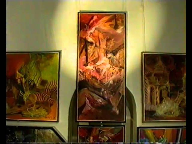 "Gintautas Velykis painting exhibition in Gallery ""AL"" (ALberto), Kaunas, 1991, Lithuania."