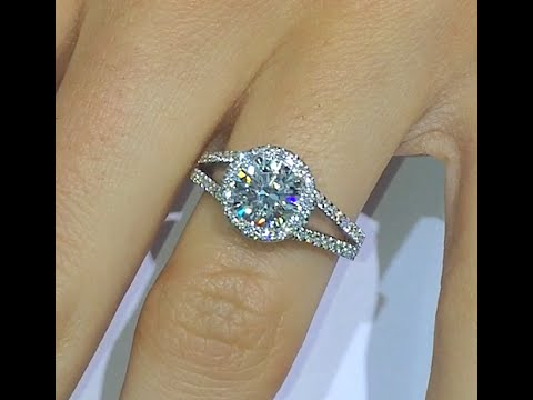 150 ct Round cut Diamond Engagement Ring in Halo Split Band YouTube