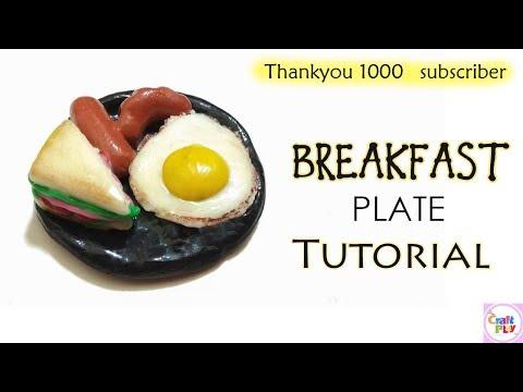 How to make Fridge Magnet / DIY Fridge Magnet /  Breakfast Plate : Clay Miniature Food / 1kspecial