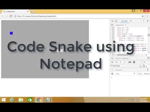 How to code the Snake game using Notepad in less than 30 minutes!