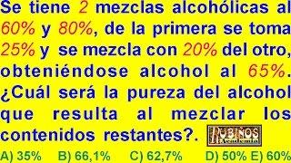 REGLA DE MEZCLA ALCOHÓLICA INVERSA - PROBLEMA RESUELTO