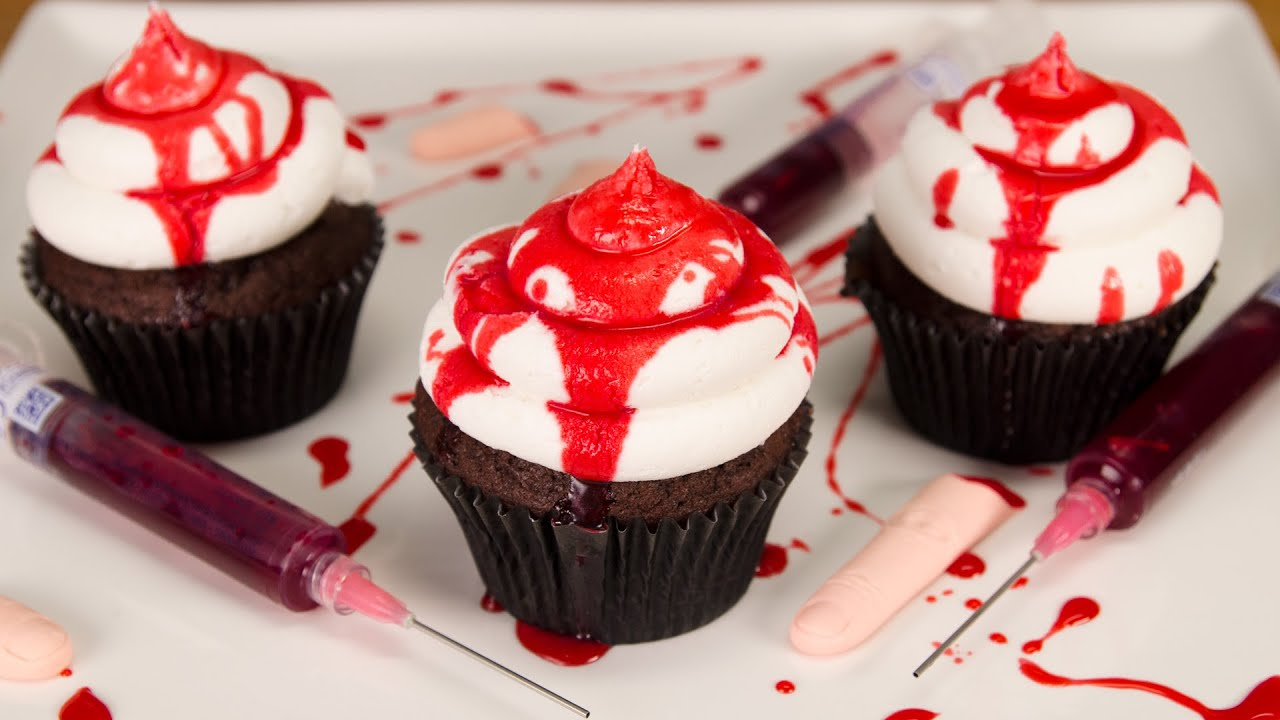 how to make edible fake blood bloody halloween cupcakes from cookies cupcakes and cardio youtube - Blood For Halloween