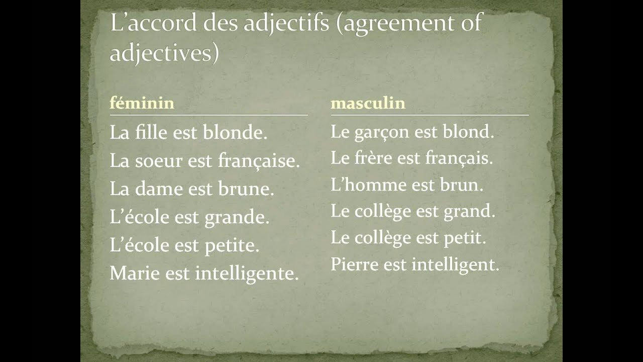 Bv1 P26 To 34 Adjective Agreement In French Youtube