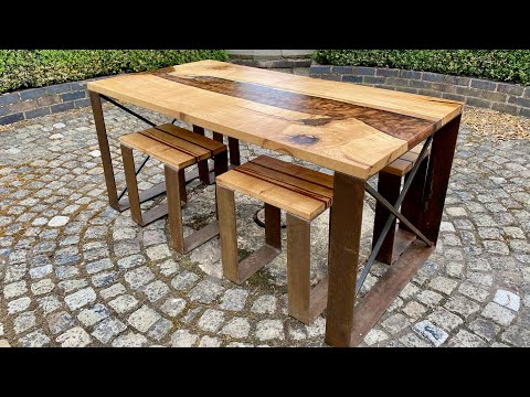 English Oak   Bronze Resin Dining Table With Stools